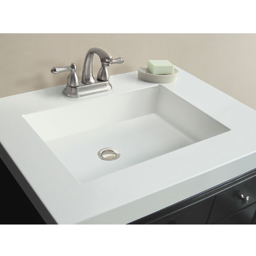 31-Inch W x 22-Inch D Marble Vanity Top in White with Rectangle Bowl