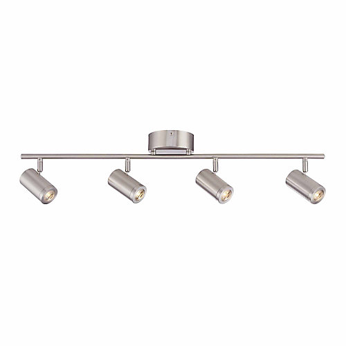4-Light Integrated LED Directional Track Light in Brushed Nickel