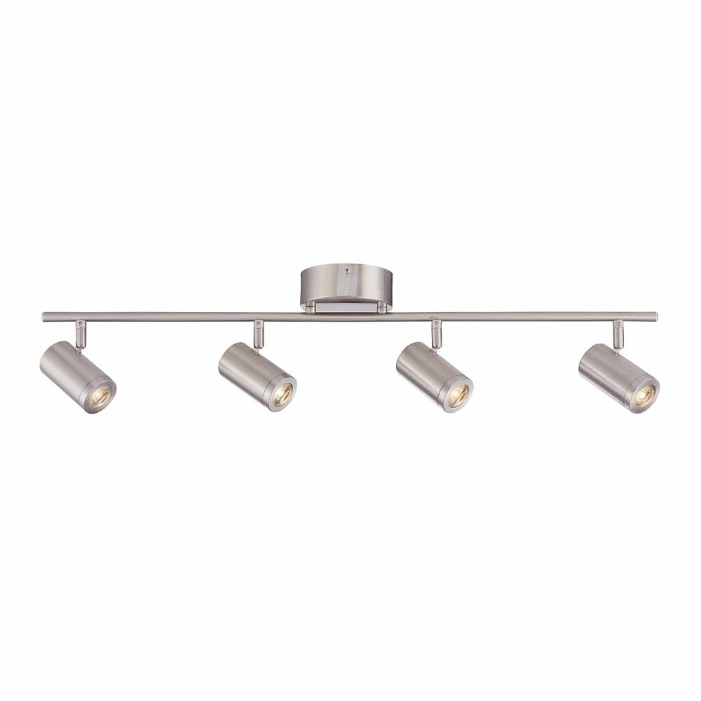 4 Head LED Track Lighting Kit, Straight Track Brushed Nickel Finish