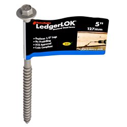 FastenMaster 5-inch Hex Washer Head LedgerLOK(R) Structural Wood Screw with Galvanized Epoxy Coating - 1pc