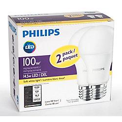 Philips 100W Equivalent Soft White (2700K) A19 LED Light Bulb (2-Pack)