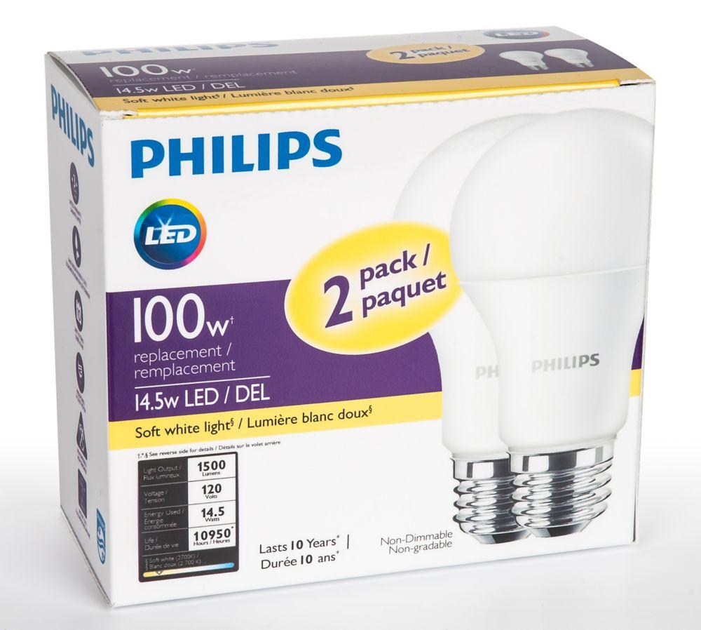Ampoule à DEL A19 à intensité non-réglable, banc doux, 2 700 K, paquet de 2