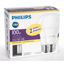 Philips Ampoule à DEL A19 à intensité non-réglable, banc doux, 2 700 K, paquet de 2