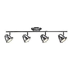 Hampton Bay Rail d'éclairage à 4lampes à DEL intégrée orientables, chrome- ENERGY STAR®