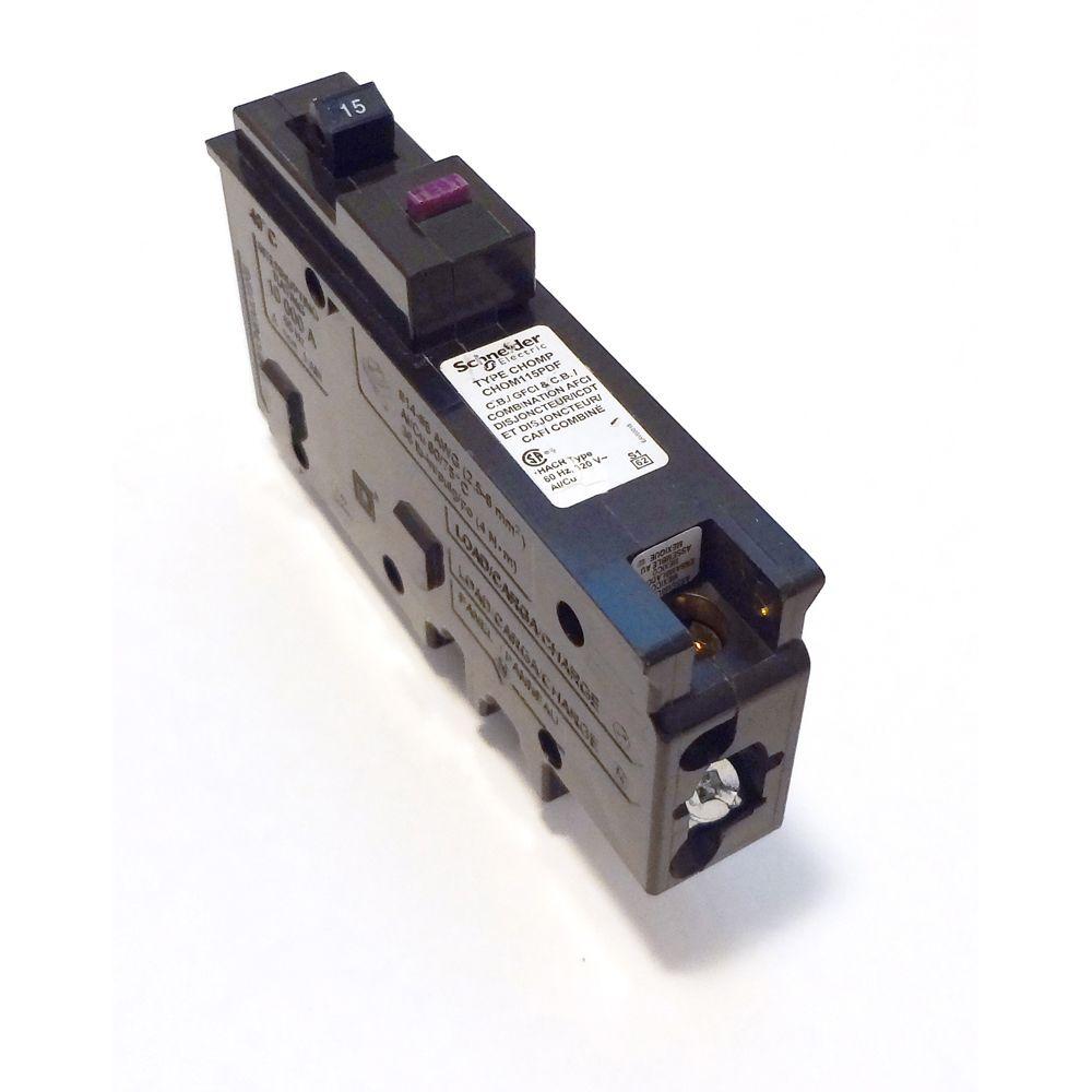 Disjoncteur à neutre enfichable double fonction AFI/GFI unipolaire de 15 A HomeLine