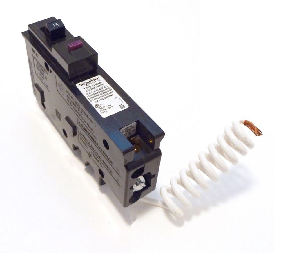 Single Pole 15 Amp  Dual Function CAFI/GFI Pigtail Circuit Breaker
