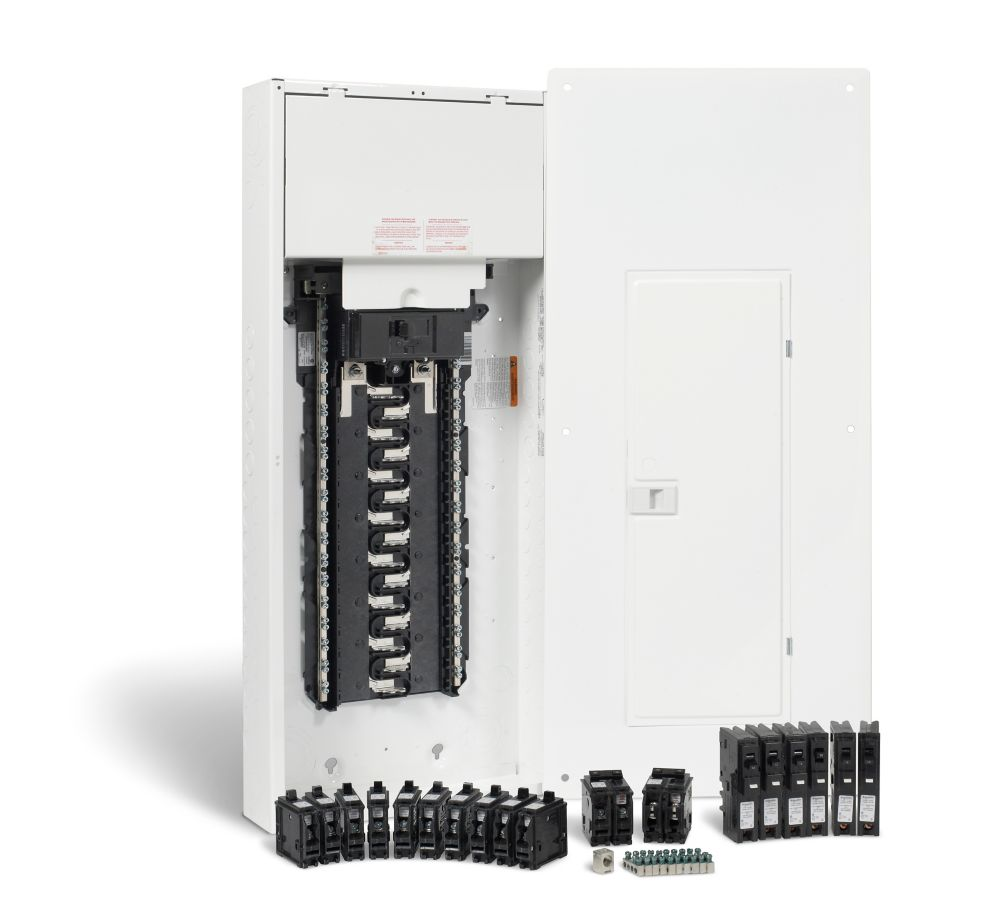 Homeline 200 Amp 30 Spaces 60 Circuits Max Arc Fault Plug On Load Center Wiring Diagram Neutral Panel Package With Breakers The Home Depot Canada