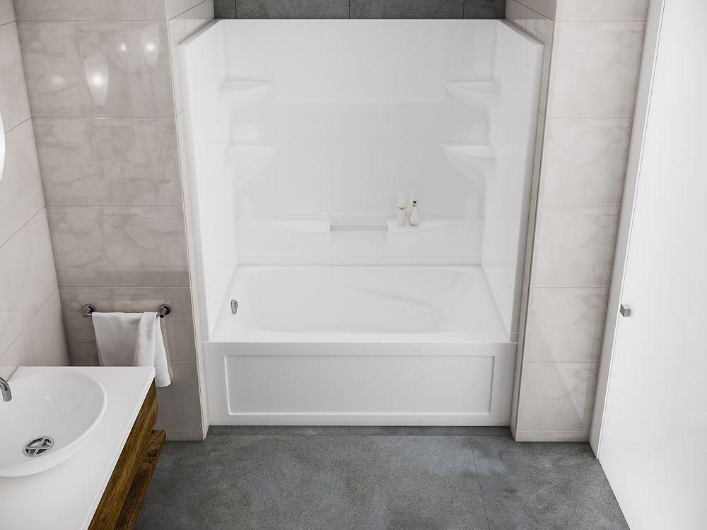 Cascade- Baignoire-douche deux pièces sans dôme � installation à gauche