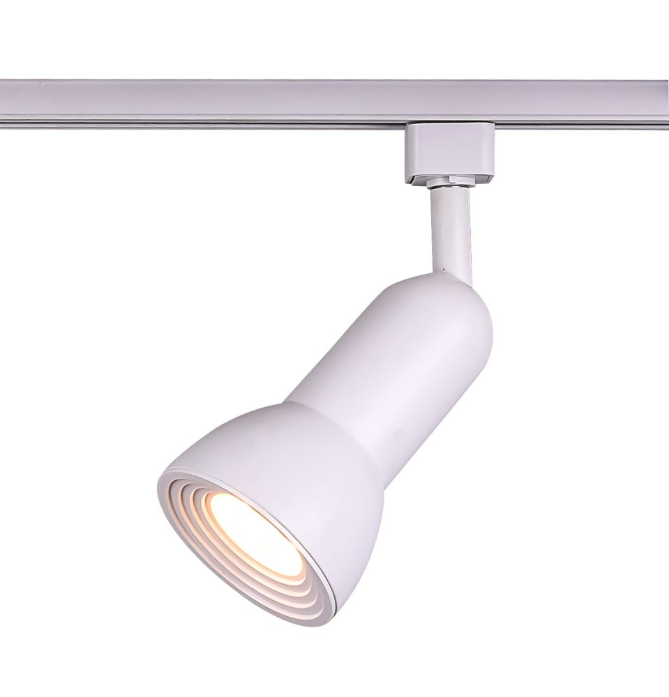 Projecteur pour rail droit à DEL moyennement étagé, fini blanc