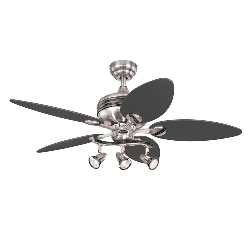 """Ventilateur de plafond XAVIER 44"""" au fini au fini d'acier brossé & bronze industriel"""