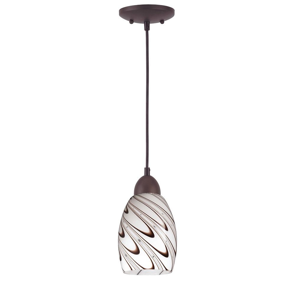 ORB Pendant with chocolate drizzle glass shade