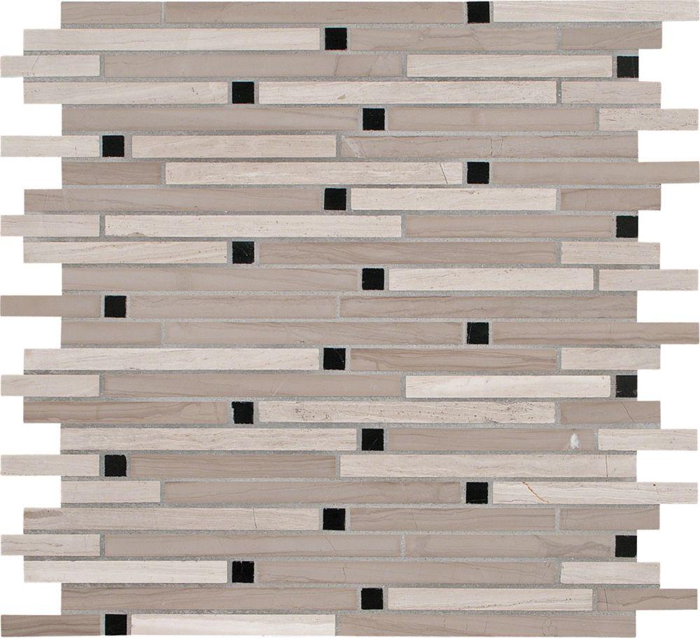 12-Inch x 12-Inch x 10 mm Honed Marble Interlocking Mosaic Tile in White Oak (10 sq. ft./case)