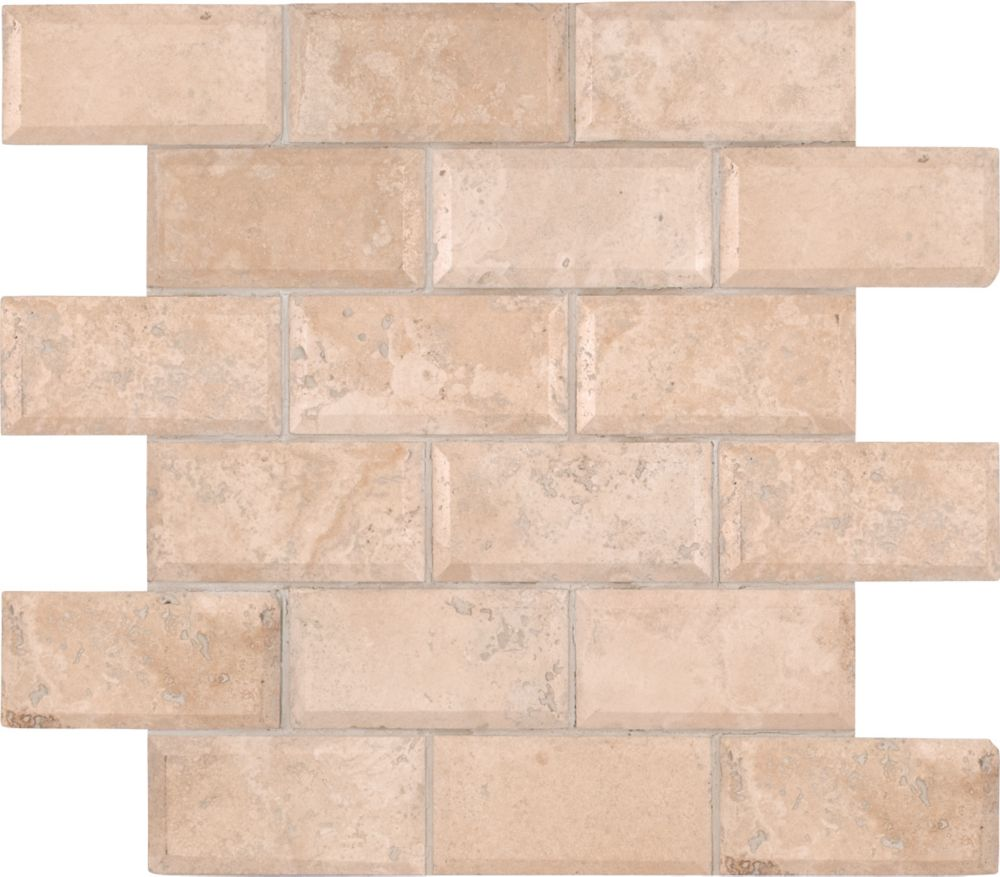 Tuscany Ivory 12  Inch.  X 12  Inch.  X 10 Mm Honed Beveled Travertine Mesh-Mounted Mosaic Tile (...