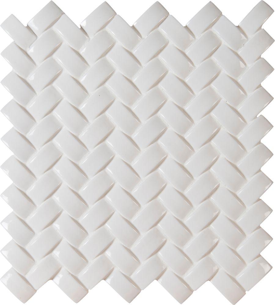 Whisper White Arched Herringbone 12  Inch.  X 12  Inch.  X 8 Mm Glazed Ceramic Mesh-Mounted Mosai...