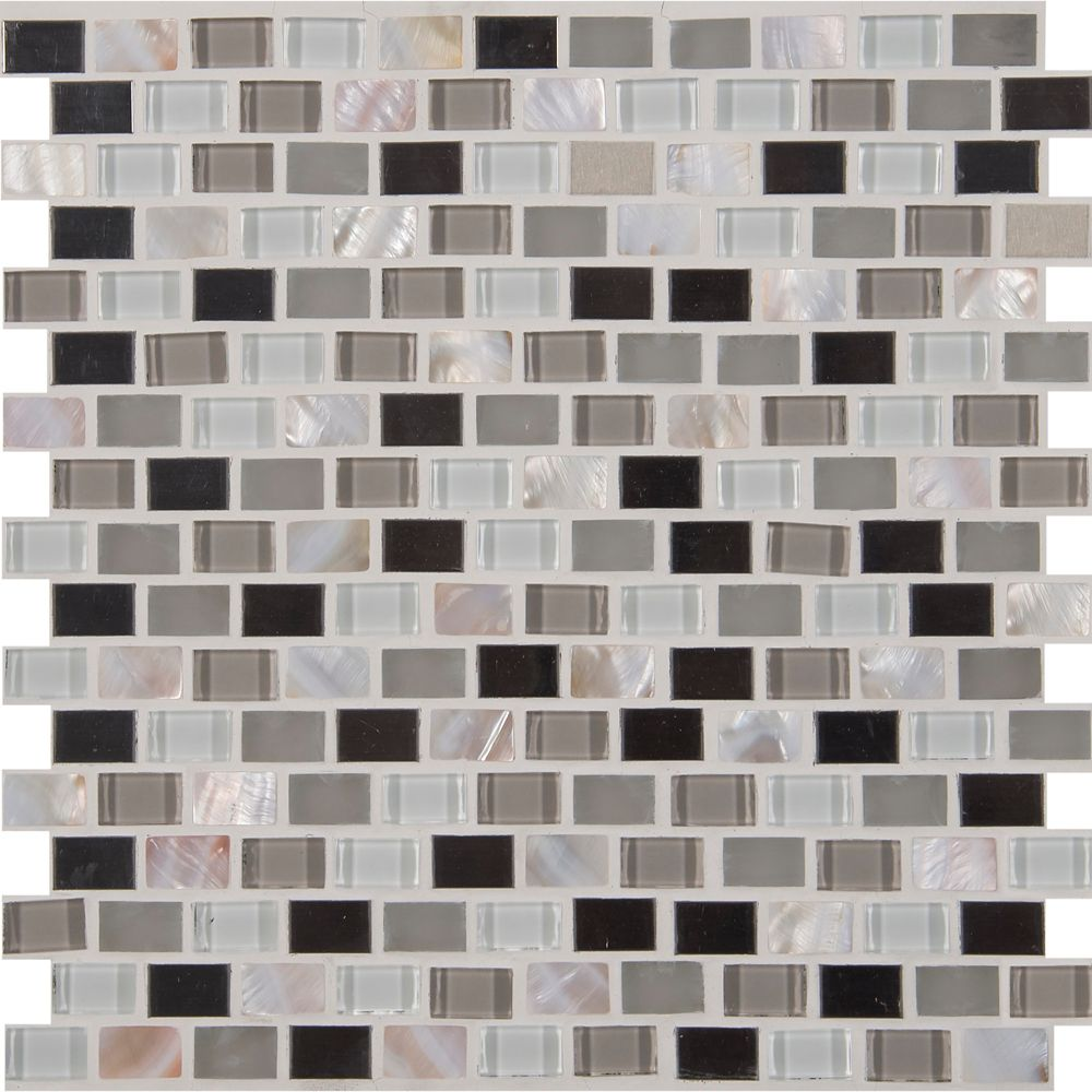 12-inch x 12-inch x 8 mm Glass/Metal Mesh-Mounted Mosaic Blend Tile in Keshi
