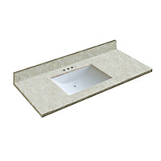 49 inch x 22 inch Dune Vanity Top with Wave Bowl