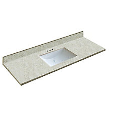 61 inch x 22 inch Dune Vanity Top with Wave Bowl