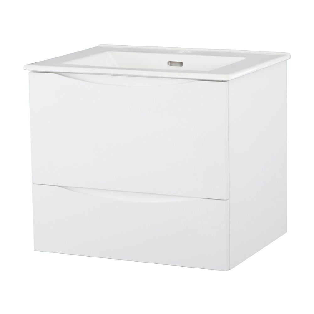 24-inch W Wall Hung Vanity in White Finish with Vitreous China Top