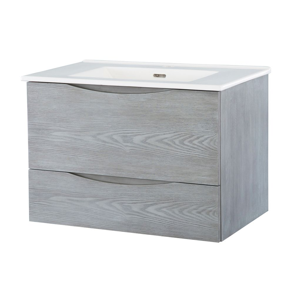 30-inch W Wall Hung Vanity in Ash Grey Finish with Vitreous China Top