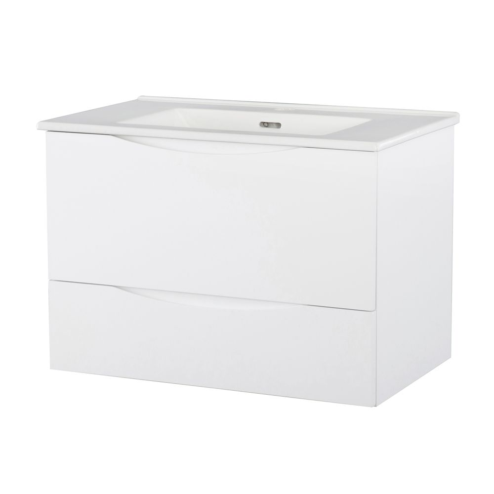 30-inch W Wall Hung Vanity in White Finish with Vitreous China Top