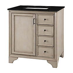 Home Decorators Collection Hazelton 31-inch W Vanity in Antique Grey Finish with Granite Top in Black