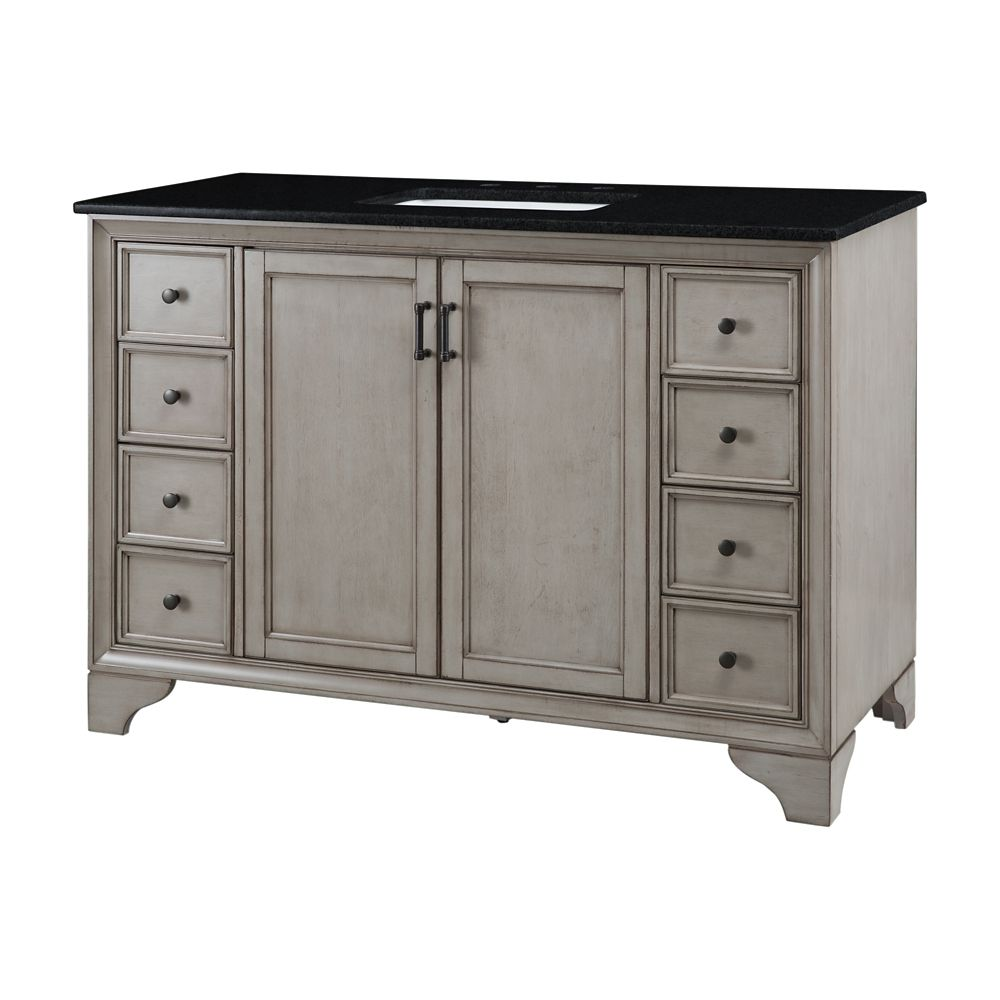 Home Decorators Collection Hazelton 49 Inch W Vanity In Antique Grey Finish With Granite Top In