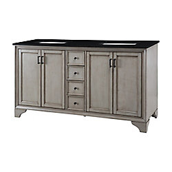 Home Decorators Collection Hazelton 61-inch W Vanity in Antique Grey Finish with Granite Top in Black