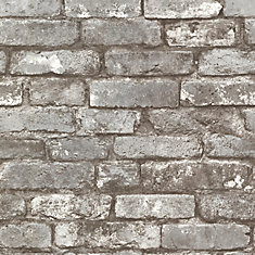 Brickwork 56 sq. ft. Pewter Exposed Brick Textured Wallpaper
