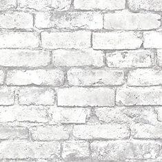 Brickwork 56 sq  ft  Light Grey Exposed Brick Wallpaper