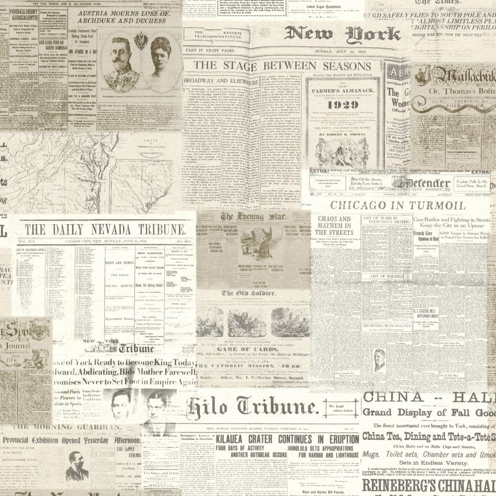 Gazette Khaki Vintage Newsprint Wallpaper
