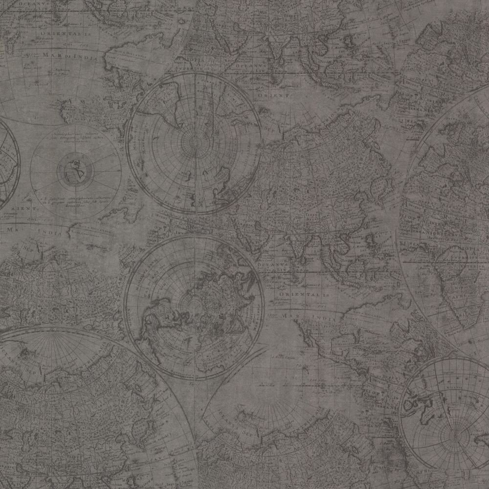 Cartography Pewter Vintage World Map Wallpaper