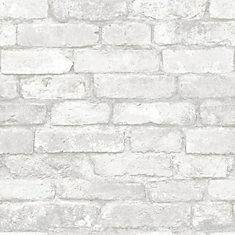 Brick Peel and Stick Wallpaper in Grey and White