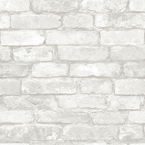 NuWallpaper Brick Peel and Stick Wallpaper in Grey and White