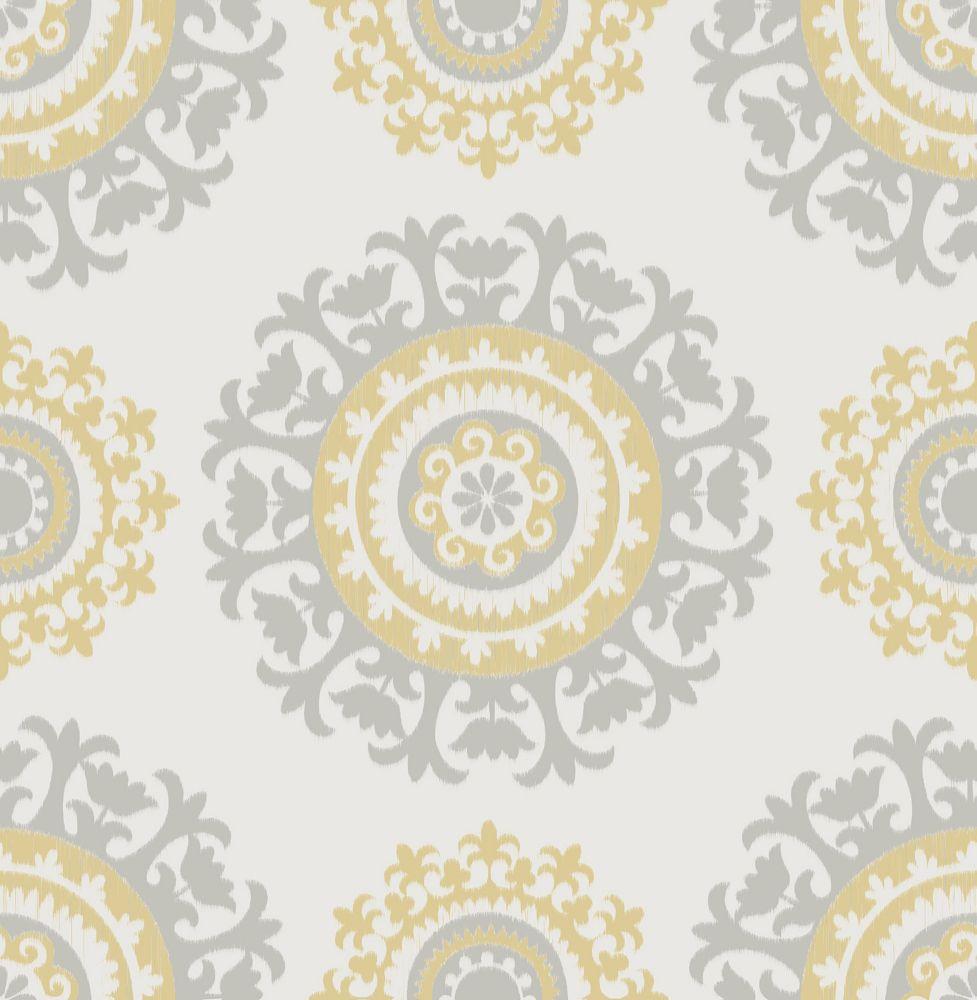 Grey and Yellow Suzani Peel And Stick Wallpaper