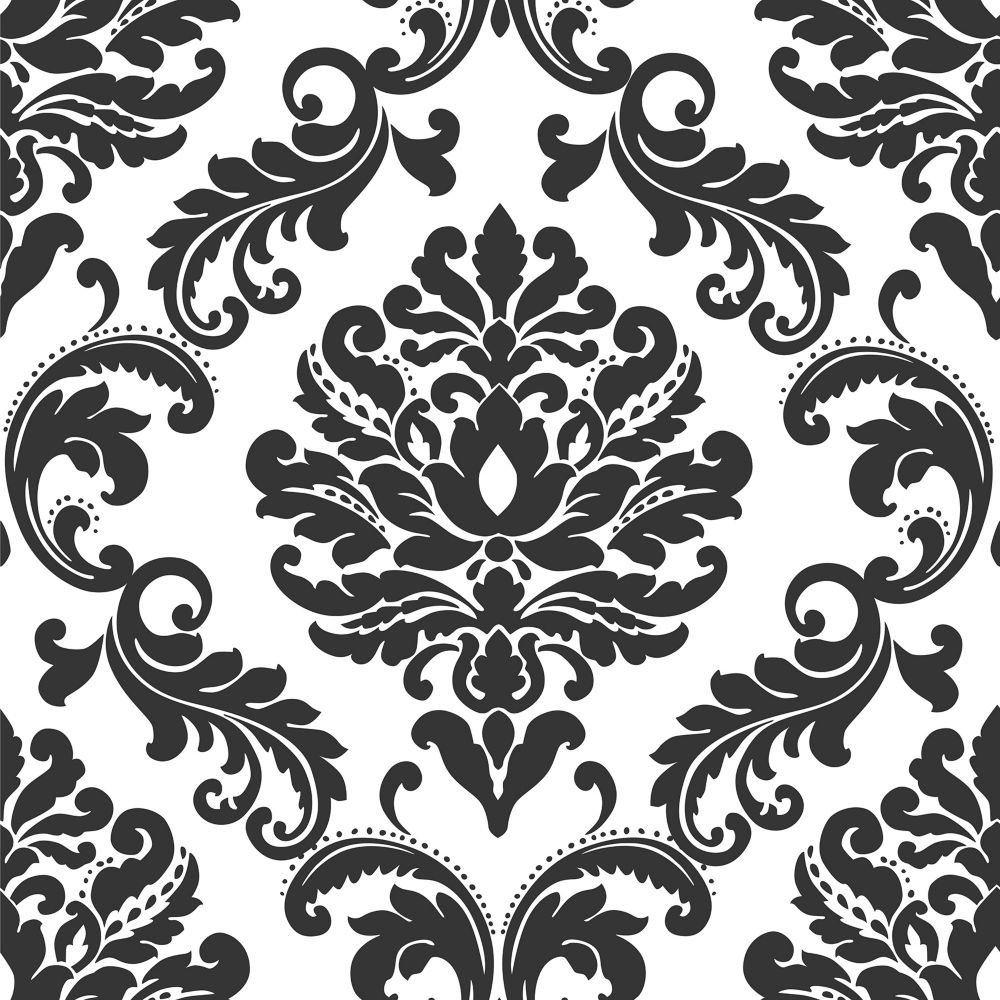 Ariel Noir & Blanc Damask Peler et Coller Papier Peint
