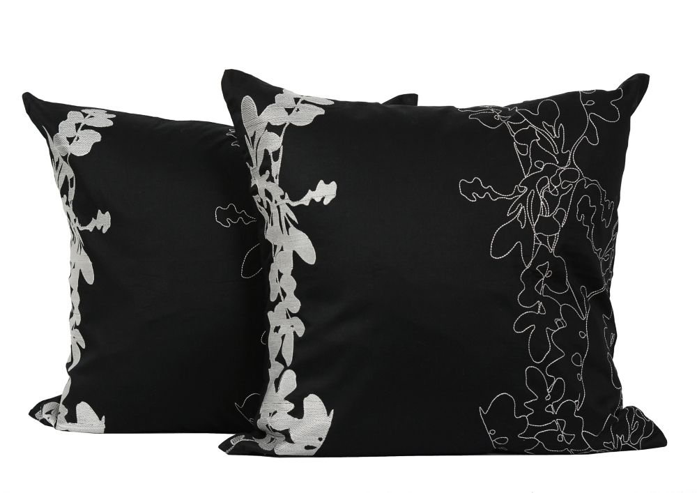 LJ Home Fashions Allure Embroidered Cotton 18-inch Square 2-Pack Decorative Cushion Set