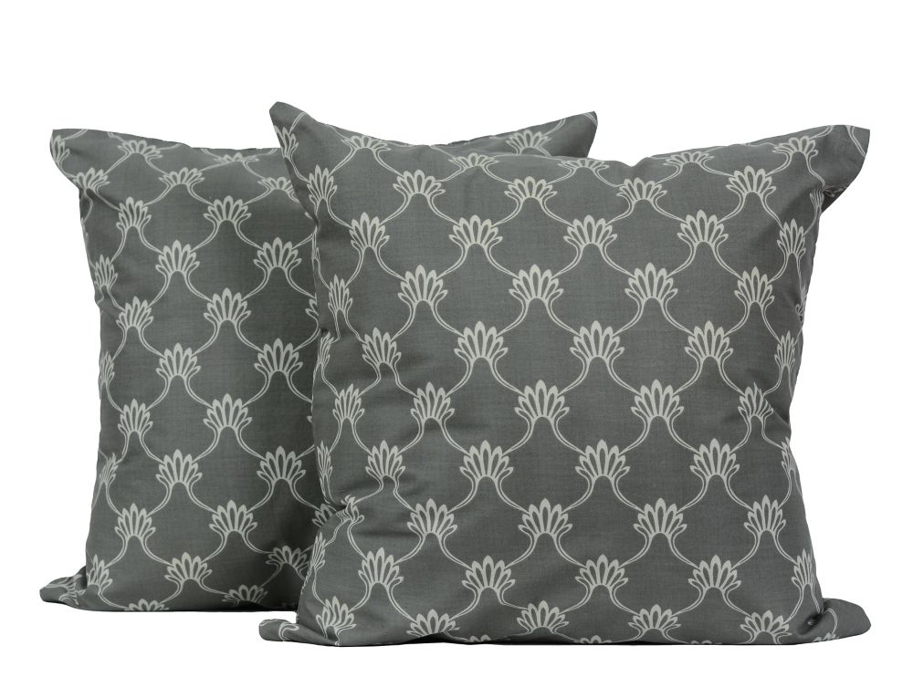 Viceroy 18-inch Square 2-Pack Decorative Cushion Set, Grey/White