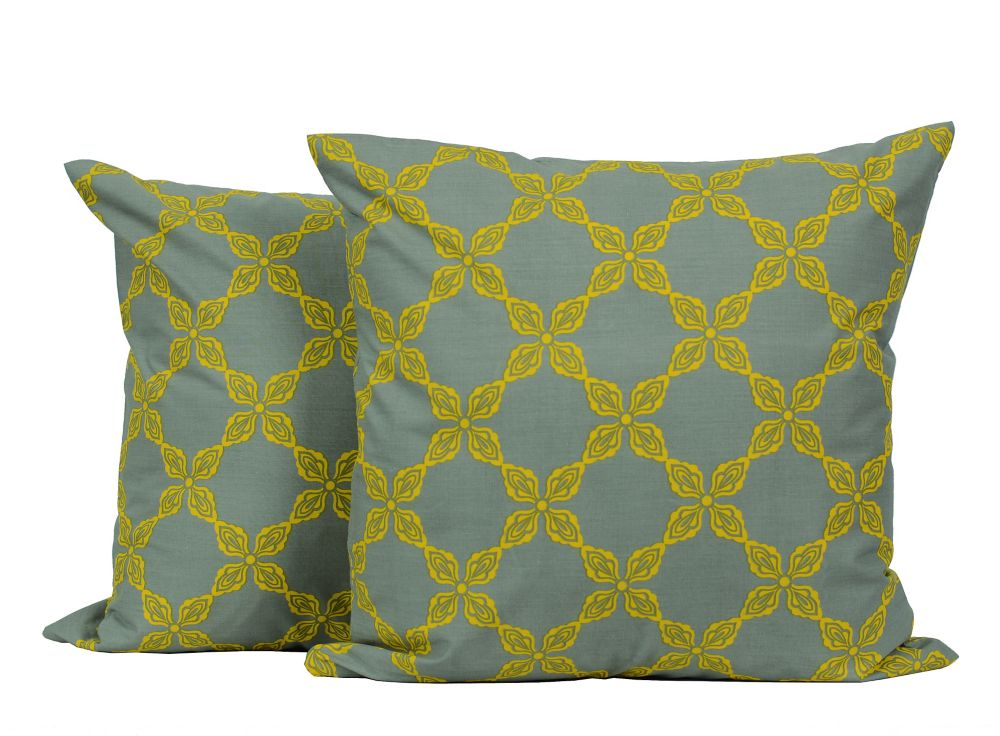 Laurel 18-inch Square 2-Pack Decorative Cushion Set, Grey/Yellow