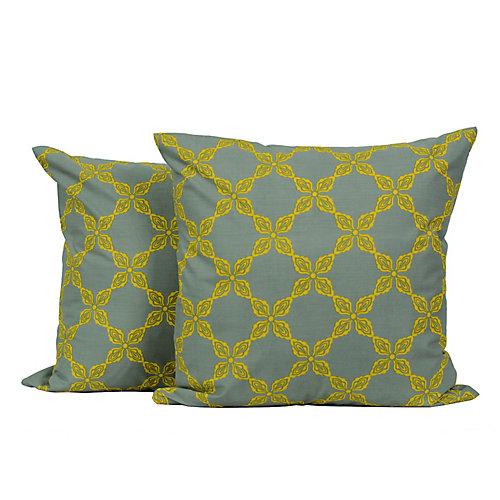 Laurel Geometric Throw Cushions 18-in Square, Grey/Yellow (Set of 2)