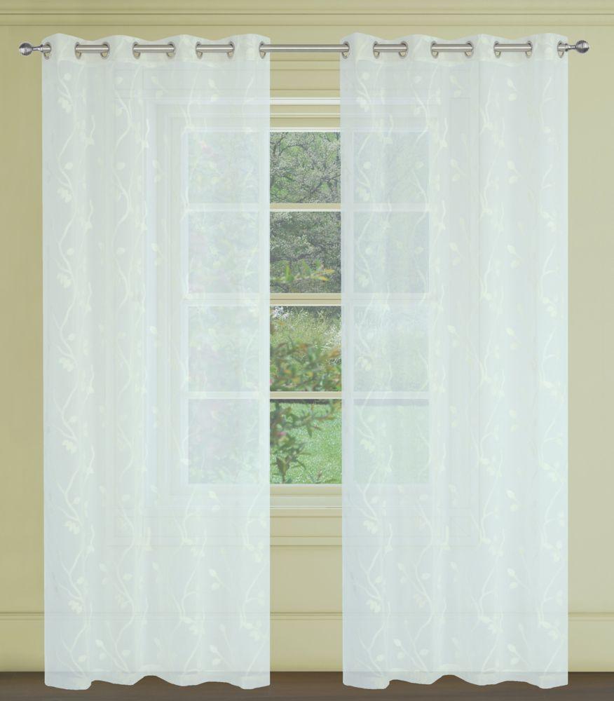 Farah Floral Sheer 54x95-inch Grommet 2-Pack Curtain Set