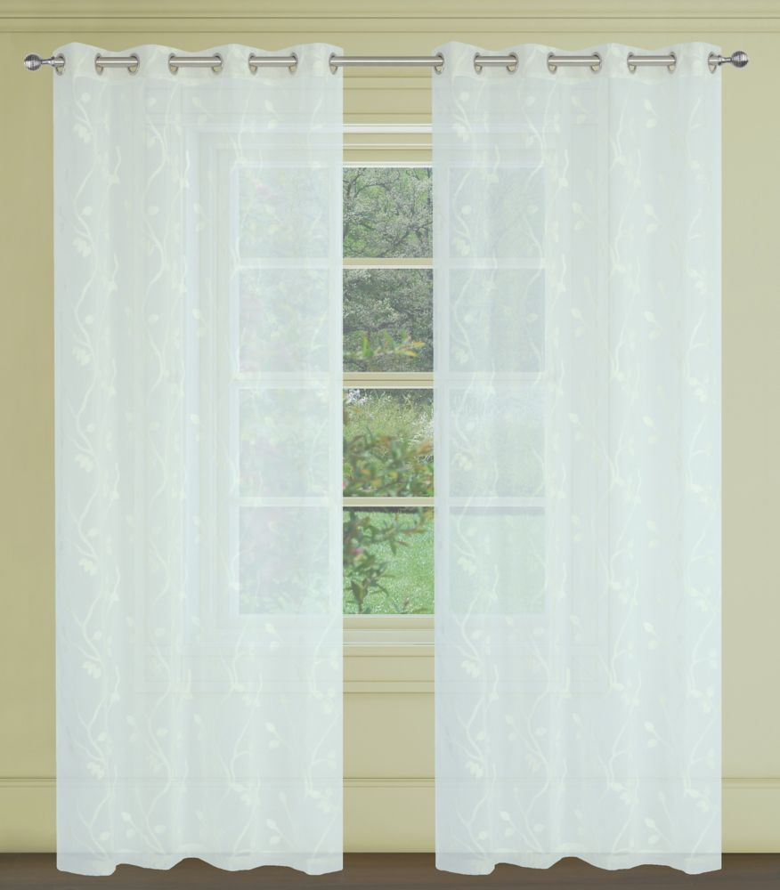 Farah Floral Sheer 54x95-inch Grommet 2-Pack Curtain Set