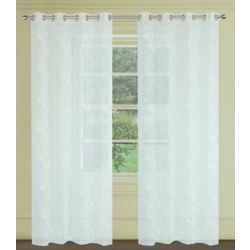 LJ Home Fashions Farah Embroidered Floral Sheer Grommet Curtain Panels, 54x95-in, Soft white (Set of 2)