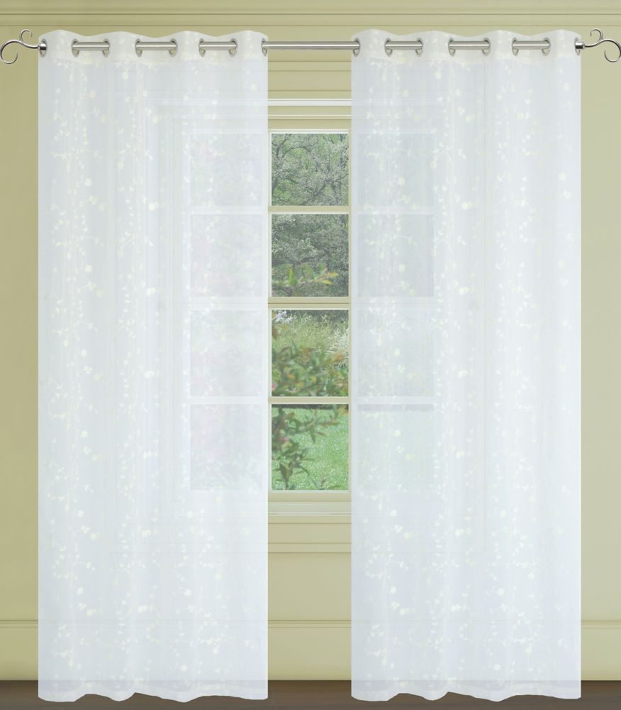 Tiffany Floral Sheer 54x95-inch Grommet 2-Pack Curtain Set