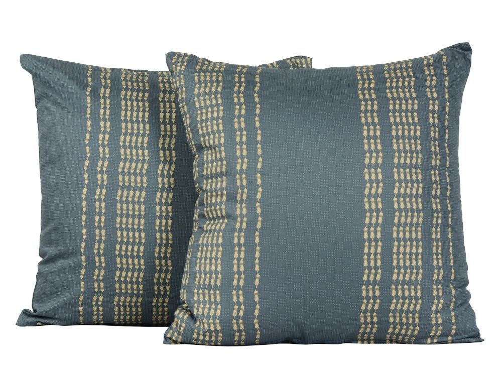 LJ Home Fashions Rapture Geometric Tile Print Cotton Throw Cushions (Set of 2) 17-in Square, Grey/Sand