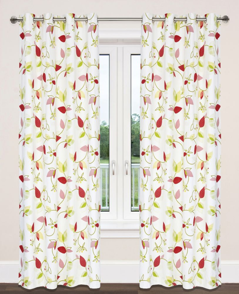 Preston 54x95-inch Cotton Grommet 2-Pack Curtain Set, Chartreuse/Yellow/Red