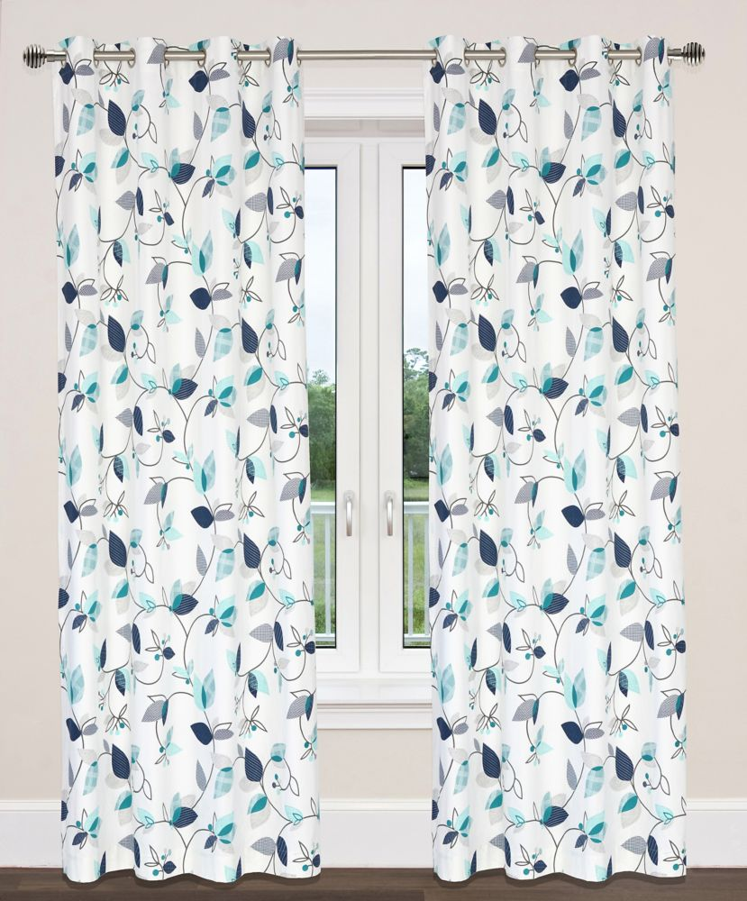 Preston 54x95-inch Cotton Grommet 2-Pack Curtain Set, Turquoise/Navy