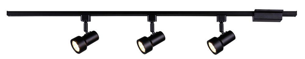 LED 3 Light Mini Step Linear Track Lighting Kit Black Finish