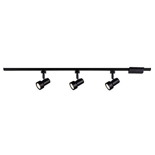 3-Light Directional LED  Linear Track Flushmount Light Fixture in Black - ENERGY STAR®