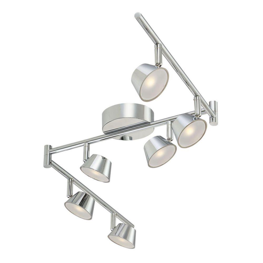 Rail fixe en chrome à 6 ampoules DEL
