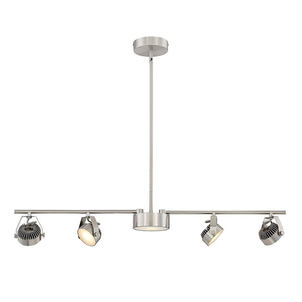 Luminaire sur rail fixe/suspendu convertible à 4 + 1 ampoules DEL en nickel satiné- ENERGY STAR®
